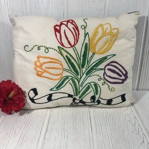 Vintage Embroidered Pillow Leather Back Flowers